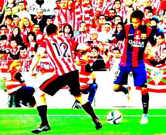 Neymar ensaia carretilha diante de Bustinza