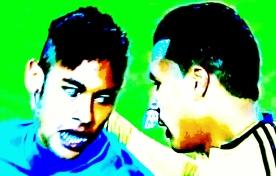 Neymar e Murillo: desentendimento durante o jogo