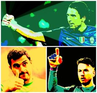 Buffon e seus reservas brasileiros na Juve: Rubinho e Neto
