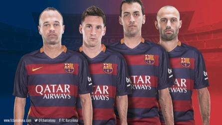 Barcelona/2015: capitães Iniesta, Messi, Busquets e Mascherano