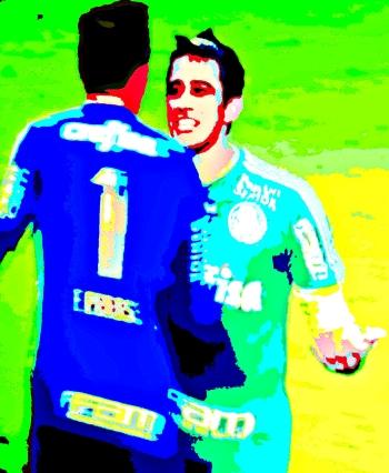 Robinho festeja Prass com Prass gol que mantém Palmeiras no G-4