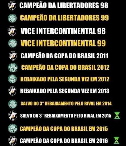 Vasco e Palmeiras coincidências @@